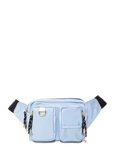 Mavi Cep Detaylı  Bel Çantası Mavi